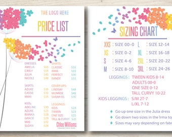 Pricing Chart//SizingChart//Fashion Retailer//Lularoe Sizing Chart