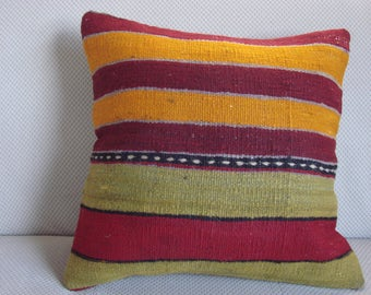 Turkish handmade Kilim pillow 16x16 inch