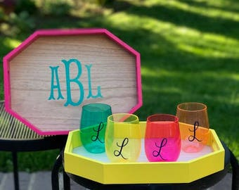 Monogrammed  Tray, Personalized Tray, Wooden Tray, Serving Tray, Customized Tray, Wedding Gift, Engagement Gift