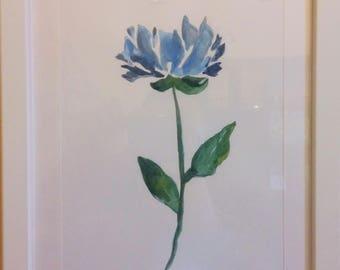 Blue flower on cardboard-framed handmade Painting-Painting unique flower-handmade Gift