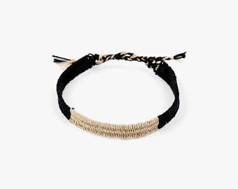 Friendship Handwoven Bracelets-black/gold,DIY gift,weaving jewelry,Hand woven bracelet,best friend gift,Yarn Bracelet, Boho Jewelry