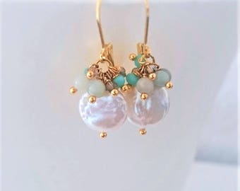 Coin pearl earrings with amazonite stones and crystals