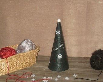 Woollen glued - 24 cm green Christmas tree
