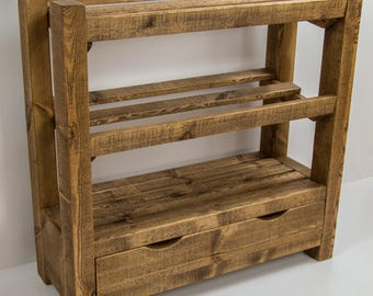Rustic wooden shoe rack with drawer, Solid wood, Medium oak finish, Worldwide shipping (free P+P to UK Mainland t&cs apply)
