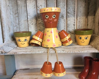 Handmade Yellow Flower Pot Man