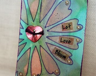 ACEO, mixed media original, ATC, artist trading card, 2.5x3.5, love, romantic, heart, flower, blue, pink, let love bloom