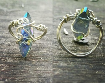 Sparkling Blue Wire Wrapped Ring