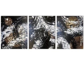 Original, Abstract Painting, Fine Art Print, Acrylic Painting, Black and White Wall Hanging, Wall Art, Triptych, Modern Wall Decor 16 x 20