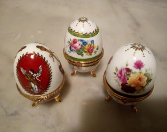 3 eggs in porcelain, jewelry boxes