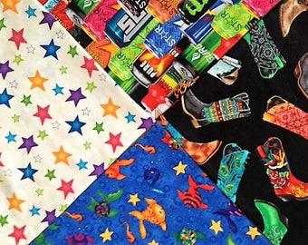 Large Dog Bandanas in Stars, Cowboy Boots, Fish, Energy Drinks. Cute Dog Scarf. Neckerchiefs and Bandanas for Dogs