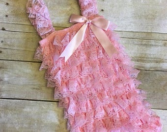 Pink lace romper, pink petti lace, infant photo prop, photo prop, cake smash outfit, petti lace romper, baby first birthday outfit