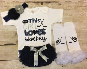 Hockey infant outfit, Hockey Season, Hockey Fan, Hockey Gift, Hockey Baby, Hockey Girl, Hockey Baby Shower, Hockey Baby Clothing