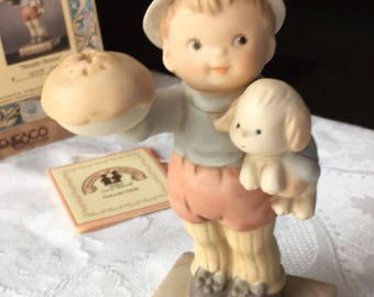 1992 Enesco Porcelain Figurine Simple Simon Limited Edition Fairy Tale Series NIB