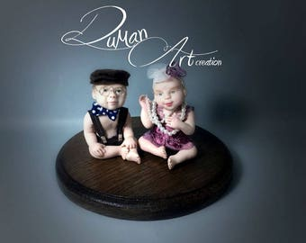 OOAK baby Artdolls, miniatures, Doll, One of a Kind, sculpture, polimery, Leo & Rosetta
