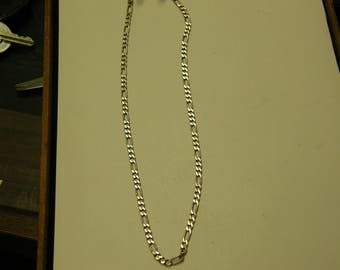 Italy Sterling Silver Figaro Chain Necklace - 20 Inch