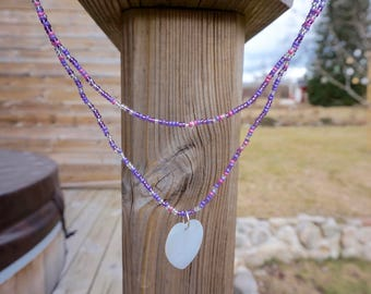 Pink and purple shell charmed necklace