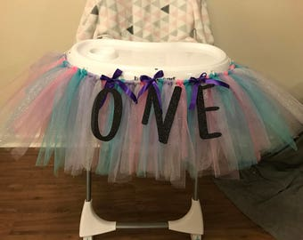 Tulle birthday high chair cover