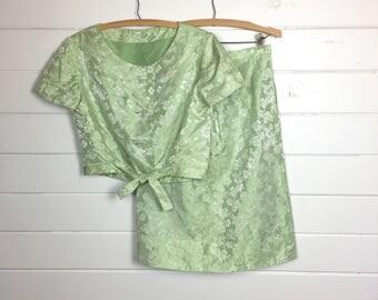 Vintage 1960s Pale Green Satin Brocade Skirt Set / Floral Brocade / Straight Skirt / Cropped Jacket / Silver Floral