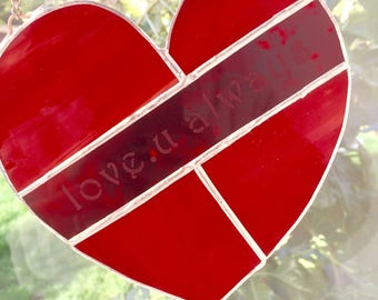 Red heart stained glass suncatcher
