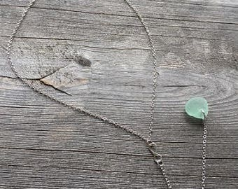 "Infinity Y Necklace.  Seafoam Green Sea Glass Pendant on a 16"" Sterling Silver Chain with a 5"" Extension."