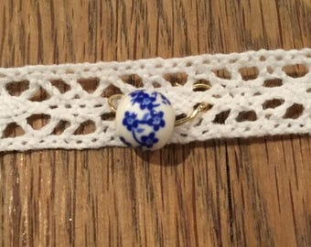 Chocker with Blue and White Jewel