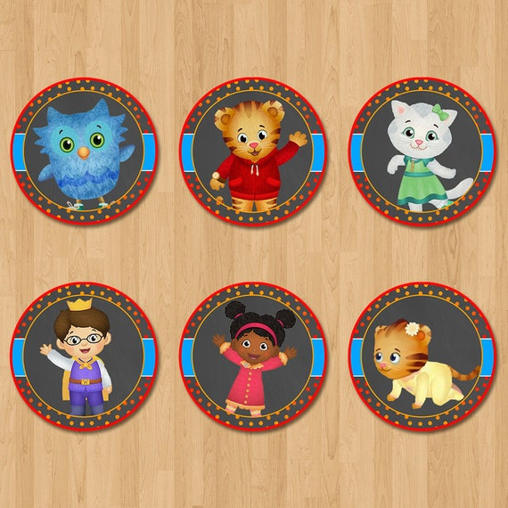 Daniel Tiger Cupcake Toppers - Chalkboard Orange & Red - Daniel Tiger Birthday Party - Daniel Tiger Party Favors - Daniel Tiger Stickers