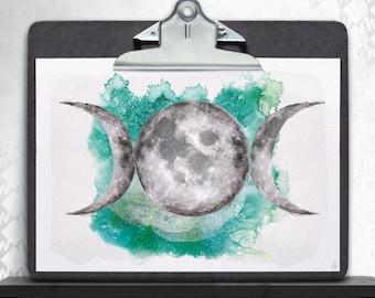 Moon phases Emerald, art print, posters, fine art print, art print, poster art, Star, moon phases, moon, full moon, Luna