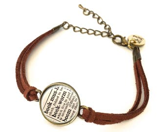 Bookworm Dictionary Bracelet - Made from a vintage dictionary. Birthday Gift, Graduation Gift, Unique Gift, Gift for Her, Boho Chic