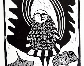 Owl Linocut: Elders - black and white, owl, ginkgo leaves, relief print, hand printed, limited edition