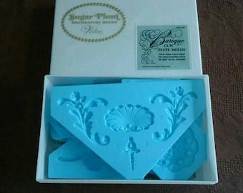 Wilton Set Of 12 Vintage Blue Baroque Gum Paste Molds