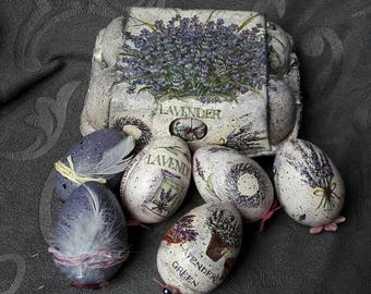 Decoupage handmade: 6 Easter eggs + egg carton * absolute uniques!