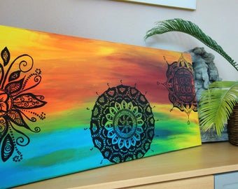 Acrylic canvas boho mandala painting wall decoration
