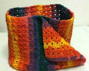 Crochetted colourful scarf