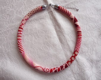 crochet Pearl necklace, Roccailles, bead art