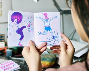 Ladies Kicking Ass Risograph Zine | Feminist Magic Book | Badass Ladies Book
