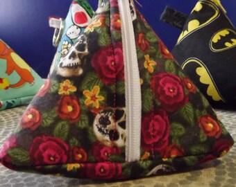 Skulls & Flowers Triangle Zipper Pouch