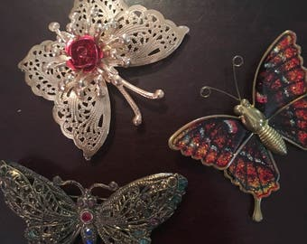 Vintage figural butterfly brooch lot of three