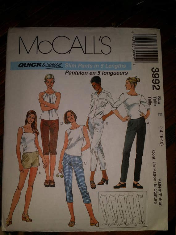 Mc Calls 3992 slim pants in 5 lenghts  priced at 2.00 only
