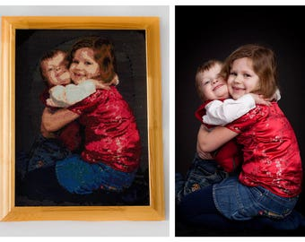 "Unique handmade cross-stitch embroidery ""painting"" from your own photo. Amazing once-in-a-lifetime gift for someone very important"