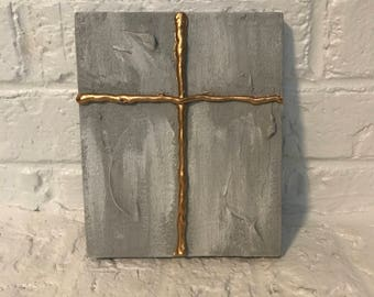 Gray & Gold Cross