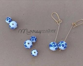 Handmade painted ceramic bead drop earrings