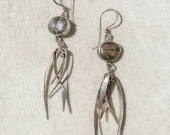 Ocean or River stone Silver Thistle Earrings