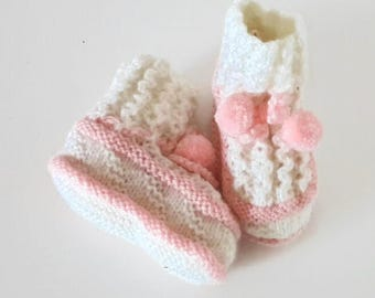 Baby booties hand knitted baby girl pink and white