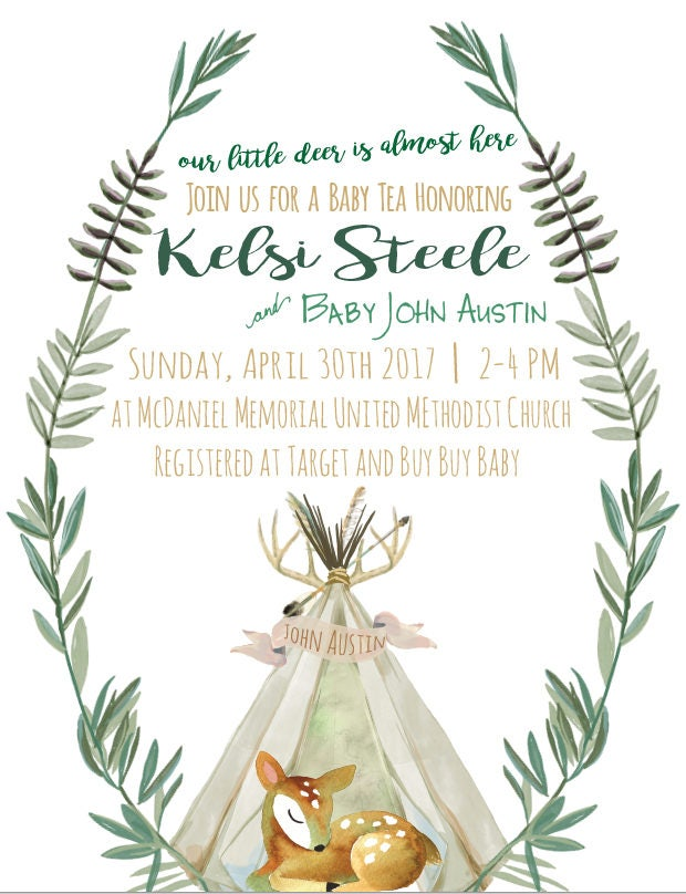 Baby Deer Baby Shower Invite With Book Card E10261624441922739m