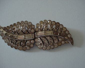 Clip Mate Dress Clips Vintage Diamante Pin Leaf Brooch