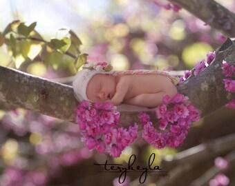 Bokeh flower branch backdrop