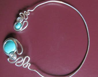 Handmade Silver plate Turquoise Necklace for Energy Balance
