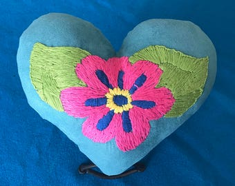Hand Embroided Small Heart Pillow