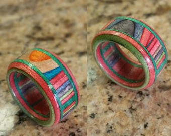 Composite ring hand made from recycled skateboards source from local shops and parks.