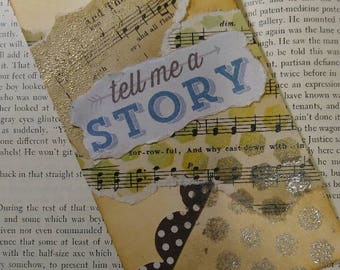 Handmade Multi Media Bookmark- Tell Me A Story